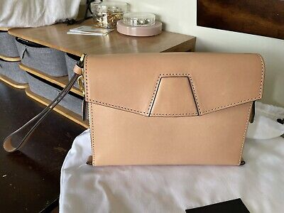 AU249 • Buy Alexander Wang Lydia Nude Leather Clutch Wristlet As New