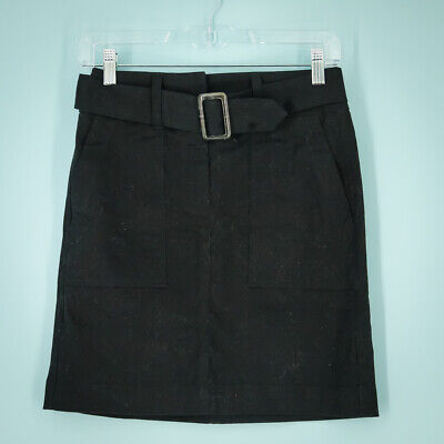 £15.30 • Buy Loft Size 00P 00 Petite Skirt Belted Cargo Front Pockets Black Chino Mini NWT