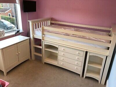£120 • Buy Julian Bowen Cameo Cabin Bed Frame Single White With Desk, Drawers & Cupboard