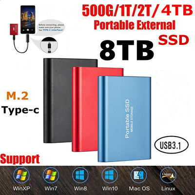 AU46.99 • Buy USB 3.1 8TB Portable External Hard Drive Disks SSD Solid State Drives PC Laptop