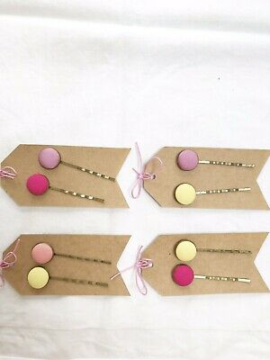 £1.85 • Buy 2 Bronze Colourful Button Hair Slides Grips Bobby Pins Handmade Various Colours