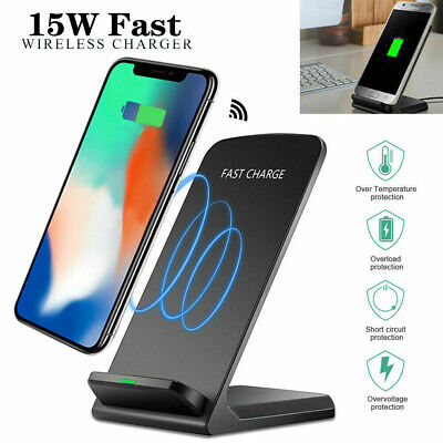 AU17.99 • Buy 15W Qi Wireless Charger Fast Charging Stand Dock 4 IPhone XS XR 11 12 13 Pro Max
