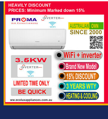 AU595.95 • Buy Split SystemReverse Cycle Air Conditioner Heating And Cooling, Wifi, Inverter✔✔