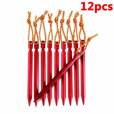 AU19.09 • Buy 12Pcs Titanium Alloy Tent Stakes Nail Pegs With Rope Lightweight Camping Outdoor