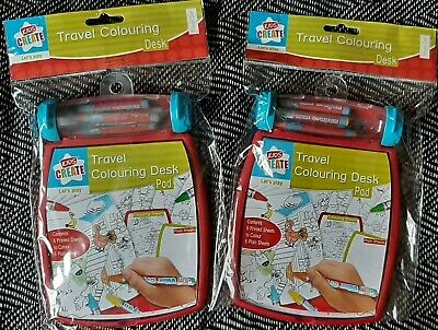 £2.50 • Buy Set Of 2 Children's Travel Mini Colouring Desk Pads With Wax Crayons BNWT