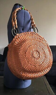 AU606.10 • Buy Alexander McQueen Bag Woven Leather Brown Handbag NOS BARRIE CHASE COLLECTION