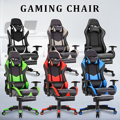 AU26.90 • Buy Gaming Chair Office Seating Computer Racing PU Executive Racer W/ Footrest