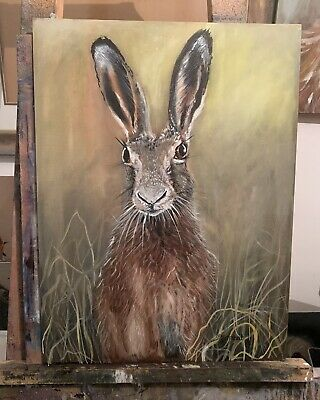 £460 • Buy Hare Portrait Rabbit Hunting  Oil On Canvas