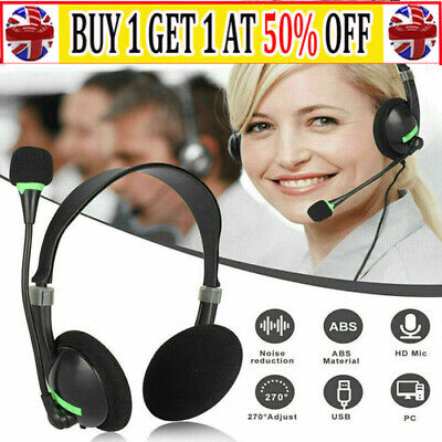 £8.95 • Buy USB Computer Headset Wired Over Ear Headphones For Call Center PC Laptop Skype