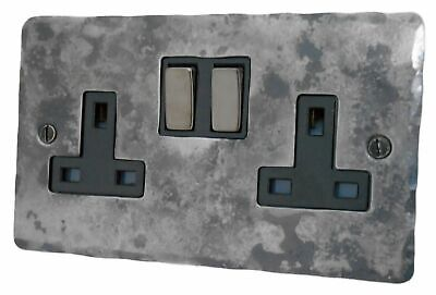 £28.50 • Buy G&H FR310 Flat Plate Rustic Silver 2 Gang Double 13A Switched Plug Socket