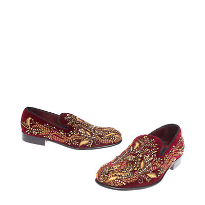 £51 • Buy RRP €2010 DOLCE & GABBANA Velour Loafer Shoes EU 39 UK 5 US 6 Embroidered Beaded