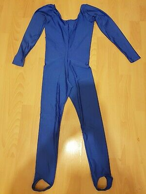 £3.99 • Buy Shiny Royal Blue Lycra Long Sleeved Catsuit Dance Unitard Size 2 And Skirt & Top