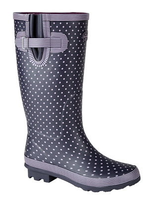 £22.99 • Buy Stormwells Ladies Womens Spotty Rubber Wellington High Welly Gusset Boot W404M
