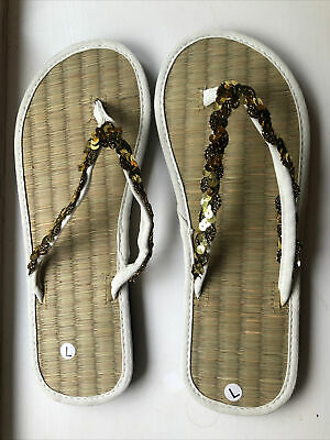 £7.99 • Buy Bamboo Seagrass Straw Bronze Sequin Flip Flops Brand New Size Large (7-8)