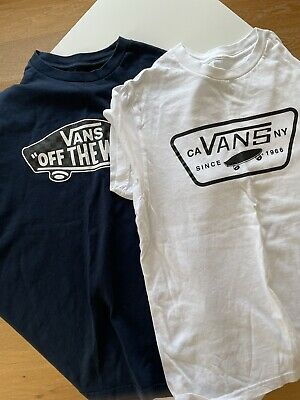 £4 • Buy 2 Vans Kids Off The Wall Logo Casual Crew Neck T-Shirt Blue White