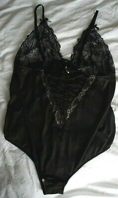 £19.99 • Buy BNWT Sexy Black Plunging Body With Lace Cups & Cut Out Back Size 22 24 Valentine