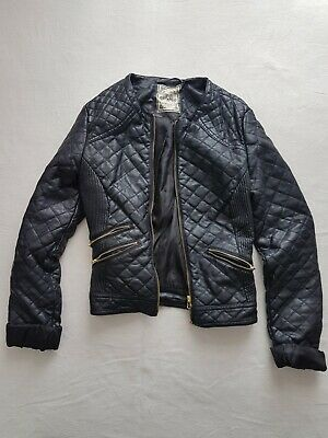 £15 • Buy Women's Ladie's Black Leather Jacket With Gold Zips, Size 8, Excellent Condition