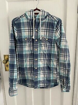 £4.50 • Buy Hollister Mens Blue Check Long Sleeve Hooded Shirt Size Small