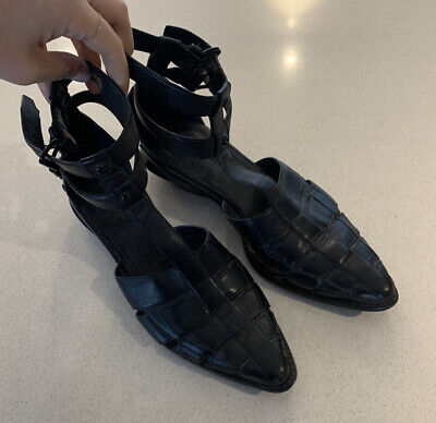 AU125 • Buy Alexander Wang Abbey Caged Black Leather Sandals Rare Shoes Size 40 Nail Ankle