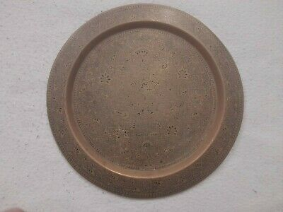 £20 • Buy Finely Engraved Indian Brass Plate. Decorated With Leafy Scrolls And Flowers.