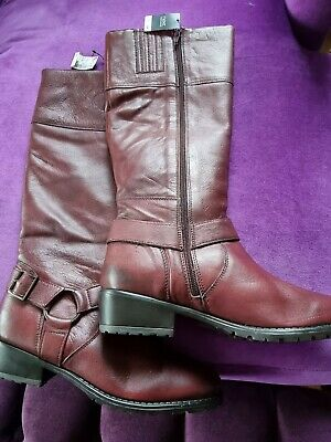 £15.60 • Buy New Ladies NEXT Burgundy Leather Knee High Boots - Size 39 - RRP £80