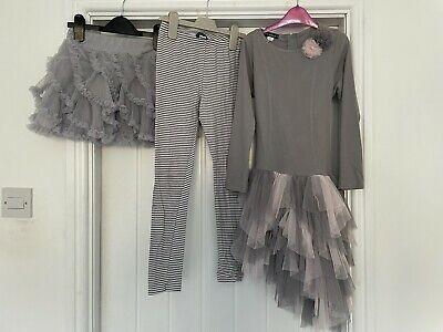 £9.99 • Buy Kate Mack Tiered Dress And Matching Leggings, Skirt Age 8 Grey