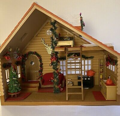 £30 • Buy Sylvanian Families Christmas Log Cabin Hand Decorated Unique With Bear Family
