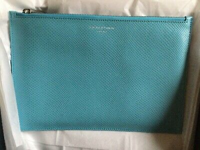 £22 • Buy Aspinal Of London Turquoise Leather Clutch Bag / Pouch