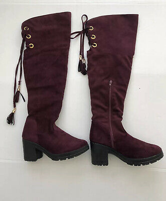 £9.99 • Buy Over The Knee Burgundy Faux Suede Boots Size 5