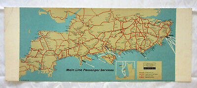 £14.95 • Buy Vintage RAILWAY CARRIAGE MAP PRINT SOUTHERN BRITISH RAILWAYS Main Line Services.
