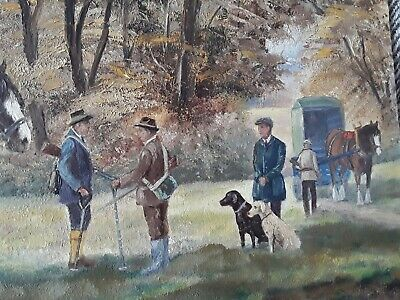 £64 • Buy Vintage Original Oil Painting Naive 1950s After The Shoot B J Newsome Horse