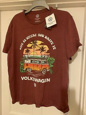 """£7 • Buy Volkswagen VW T Shirt Mens Red XL """"life Is Where You Drive It"""" Logo"""
