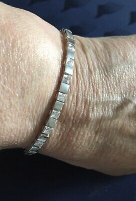 """£28 • Buy 925 Solid Sterling Silver And Cubic Zirconia Chain Tennis Bracelet 7.5"""" Inches"""
