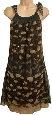 AU106.50 • Buy SAVE THE QUEEN Mixed Prints Chiffon Embellished Sleeveless Dress Size S