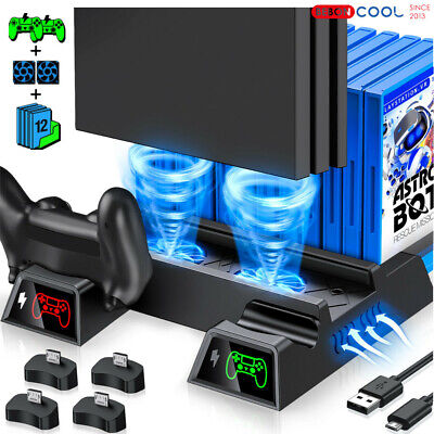 AU35.98 • Buy For PS4 Pro / Slim Vertical Stand + Cooling Fan Controller Charging Dock Station