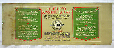 £14.95 • Buy Vintage RAILWAY CARRIAGE MAP PRINT SOUTHERN RAILWAY 'South For Sunshine Holidays