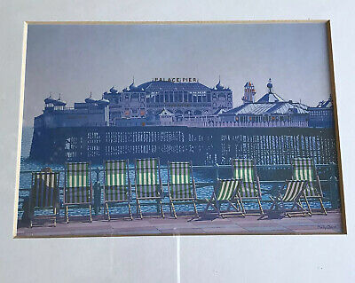 £25 • Buy Brighton Print Philip Dunn  'Lined Up By The Pier' Framed Deckchairs/Palace Pier