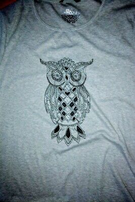 £3.30 • Buy New With Tags Woman's BM Owl Detail T-shirt / Tunic Top XL