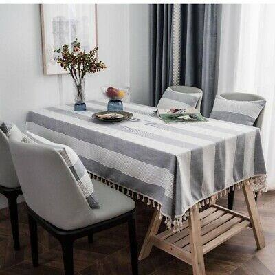 AU34.92 • Buy Cotton Linen Tablecloth Tassels Rectangle Kitchen Dining Table Cloth Cover Decor