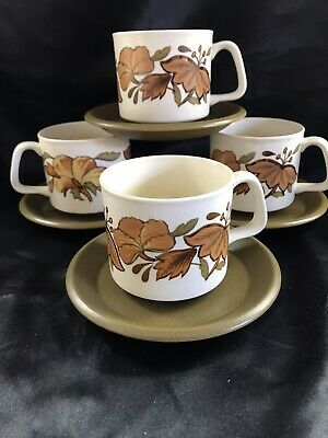 £10 • Buy The Royal Worcester Group Palissy Kismet 4 Breakfast Cups & Saucers Used