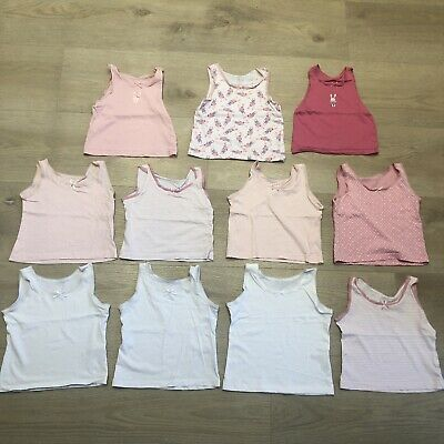 £0.99 • Buy Girls Pink White Bunny Vests 18-24 Months