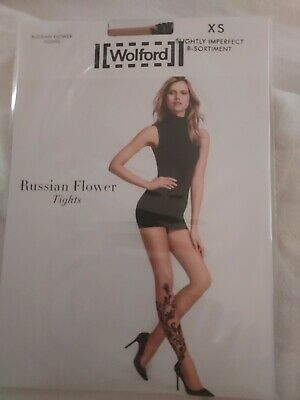 £2.10 • Buy Wolford Russian Flower Tights, Gobi/black, Small, Slightly Imperfect