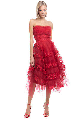 AU36.52 • Buy Tulle Midi Prom Dress Size XS Red Tiered Ruffle Lace Inserts Fully Lined Bandeau