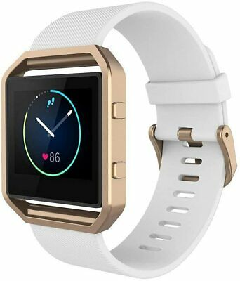 AU33.99 • Buy Band For Fit Bit Blaze, Silicone Wrist Strap With Metal Frame- White Rose Gold