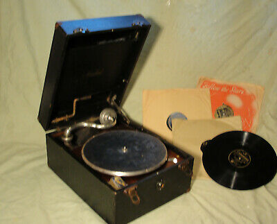£58 • Buy 1930s 78rpm WIND UP PORTABLE GRAMOPHONE With RECORDS & NEEDLES In Vg Working Cdt