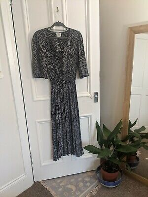 £8 • Buy Laura Ashley Vintage Maxi Day Dress Navy And White Floral UK 10