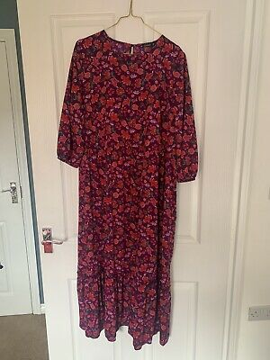 £2 • Buy Dunnes Stores Long Purple Floral Dress Worn Once L Large MIDI Maxi Smock Flower