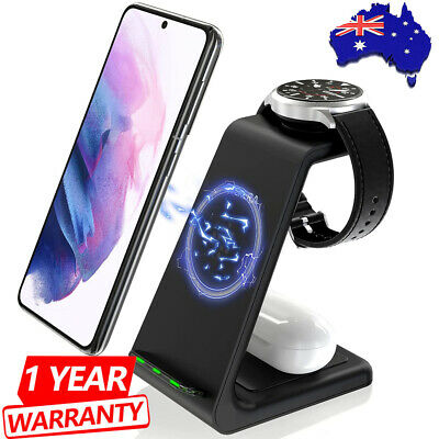 AU44.89 • Buy 10W 3 In1 Wireless Charger Stand QI Fast Charging Dock For Airpods IPhone IWatch