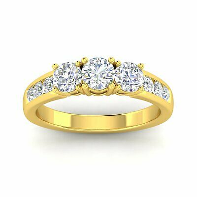 £943.90 • Buy 1.50ctw Diamond Three Stone Ring With Side Stones In 14k Yellow Gold (H-I/I2-I3)