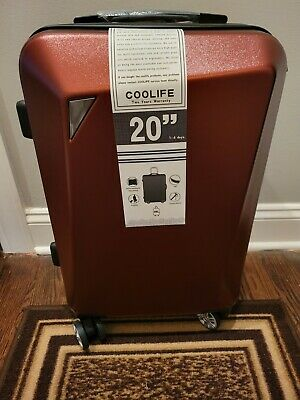 View Details Coolife 20  Suitcase TSA Lock ABS+PC Red Wine New • 50$